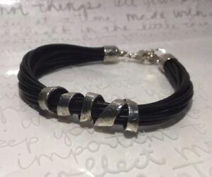 "Silpada NEW ""City Slicker"" B3207 Black Leather 925 Sterling Silver 8.5"" Bracelet"