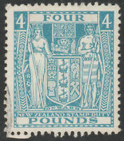 """NEW ZEALAND 1952 """"ARMS"""" SG F210 £4 LIGHT BLUE FISCAL FINE USED WMK INVERTED"""