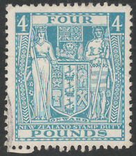 "NEW ZEALAND 1952 ""ARMS"" SG F210 £4 LIGHT BLUE FISCAL FINE USED WMK INVERTED"