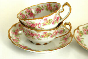 STUNNING  4 PC HAVILAND LIMOGES TEA CUPS & SAUCERS