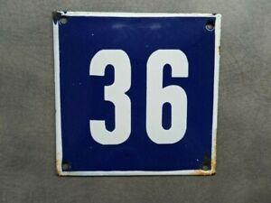 Vintage Enamel Sign Number 36 Blue House Door Street Plate Metal Porcelain Tin