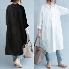 ZANZEA Women Plus Size Long Sleeve Shirt Blouse A-Line Dress Pullover Tunic Top