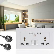 Dual USB Port Wall Socket Charger UK Plug AC Power Plate Adapter Receptacle POP