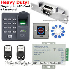 US ZKTeco Fingerprint+ RFID Card +Password Door Access Control System+ 2 Remotes