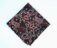 Lord R Colton Masterworks Pocket Square - Charleston Black & Red Silk - New