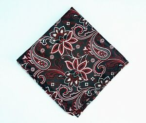 Lord R Colton Masterworks Pocket Square - Charleston Black & Red Silk - New