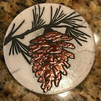 Pine Cone Coaster Raku Pottery, handcrafted & signed - NEW