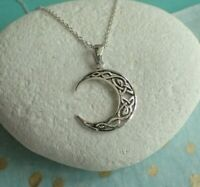 Sterling Silver Celtic Knotwork Moon Pendant Necklace - UK Seller