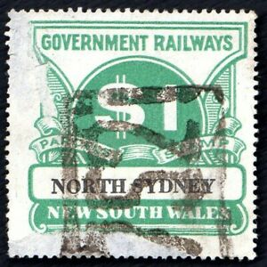 """NSW $1 Railway Parcels Stamps """"North Sydney"""""""