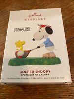 Hallmark Keepsake Ornament 2019-PEANUTS-GOLFER SNOOPY WOODSTOCK -Limited Edition