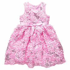 NWT Barbie Licensed Girls Pink Sequins Rosettes Tulle Party Dress Size 5 or 6