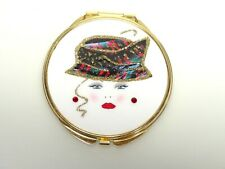 Retro Med Century Lady In Hat Compact Dbl Sided Mirror- Gold-Rhinestones-Glitter
