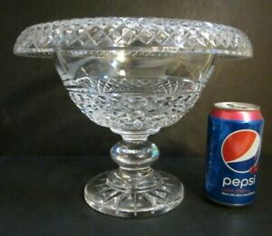 """Rare WATERFORD CRYSTAL Signed BIG 10.5"""" TURNOVER Cut Glass Centerpiece Bowl CHIP"""