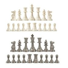 Staunton Single Weight Chess Pieces - Full Set of 34 White & Silver - 4 Queens
