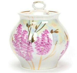 25 fl oz Porcelain Sugar Bowl. Made in Dulevo, Russia. Pink Lilac Pattern