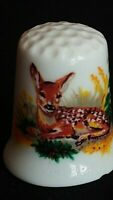 YOUNG CHITAL FALLOW FAWN WHITETAIL DEER  ILLUSTRATED FINE CHINA SOUVENIR THIMBLE