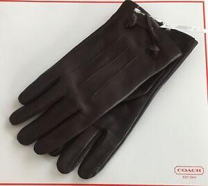 Coach NWT Women's Tea Rose Bow Leather Glove Oxblood $135 sz 8 #F20887