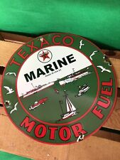 VINTAGE MARINE TEXACO BOAT PORCELAIN SIGN CAR GAS OIL GASOLINE AUTOMOTIVE TRUCK