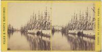 Il Havre ? Francia Foto Stereo J.Andrieu Vintage Albumina c1868