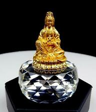 """CRYSTAL FACETED GOLDEN HINDU DEITY FIGURAL 3"""" PAPERWEIGHT"""