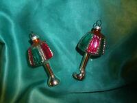 ~ 2 alte Christbaumkugeln Glas Laternen Lampen silber rot grün Weihnachten DDR?