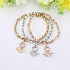 3 x Angel Stretchy Bead Charm Bracelets CZ + Bag UK Women's Jewellery