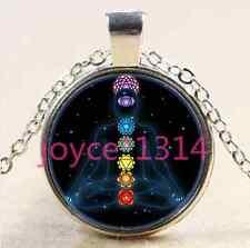 Chakra Glass Pendant silver Chain Reiki Chakra Zen Healing Om Necklace #1419