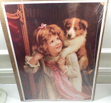 """Victorian Lithograph Print Picture """"Hold On"""" Girl Child And Puppy Dog 12X16"""