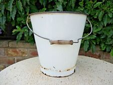 Vintage  Enamel  Bucket  Black Rim Wood Handle  Garden Planter  (512)