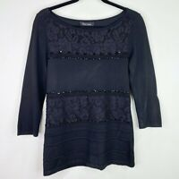 White House Black Market Black Beaded Sweater Shirt Top Size Small Womens