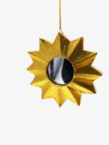 Hand Carved Gold Leafed Sun Mirror Ornament