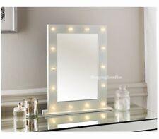 NEW 14 LED BULB MIRROR HOLLYWOOD WHITE GLOSS VANITY DRESSING TABLE MIRROR 50x40