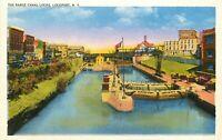 WB Postcard NY I187 Barge Canal Locks Lockport New York Water Houses Sunset