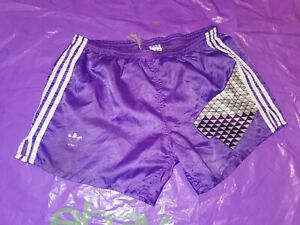 "Men's Adidas Sports Shorts Vtg Glanz nylon Football  gym fitness D6 M 34"" Purple"