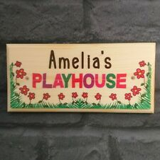 Personalised Playhouse Sign, Childrens Play House Plaque Kids Flowers Gift Home