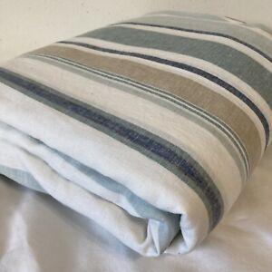 Pottery Barn Blue Striped Full/Queen Size 88x94 Duvet Cover Linen Blend