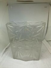"Vintage Mid Century Star Clear Acrylic Lucite Wastebasket 9 3/4"" Tall Trash Can"
