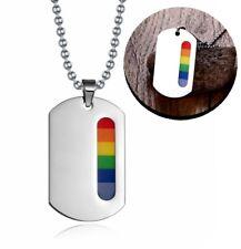 Regenbogen Anhänger mit Kette Lesbisch Gay Homo Rainbow Schmuck Edelstahl