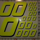 Yellow FLUORESCENT #0's Racing Numbers vinyl Decal Sheet 1/8-1/10-1/12 RC Model