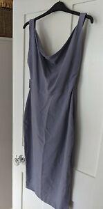 Vintage Y2K adolfo dominguez purple silk swoop neck dress UK size 8