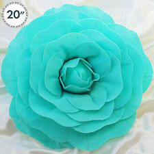"""2 pcs 20"""" Turquoise Artificial Large Roses Flowers Wall Backdrop Party Wedding"""