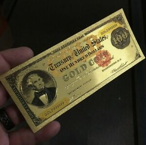 💥amazing💥24K Gold Collectors <1882> $100 Gold Coin D Series  Banknote