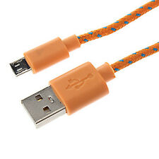 Strong Braided Micro USB Cable Data Cable for HTC A9 10 Gold Wildfire G8 S Orange 1m
