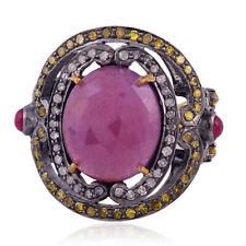 Pave Diamond Ruby Gemstone Cocktail Ring 925 Sterling Silver Handmade Jewelry