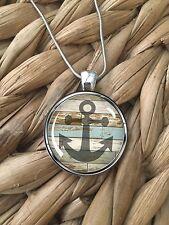 Anchor Beach Wood Nautical Blue Ocean Glass Pendant Silver Chain Necklace NEW