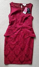 NEXT size 10 petite RED PEPLUM DRESS floral BODY SHAPER LINING party OCCASION