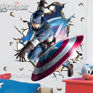 Captain America Marvel Avengers Wall Stickers Boys Kids Room Decal Super Hero