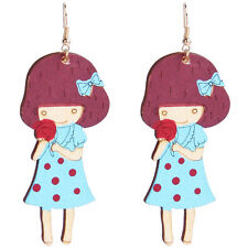 Cute Girl with Bow knot and Flower Dangling Earrings drops fashionable E1237