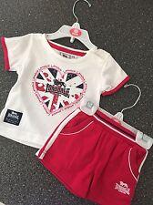 LONSDALE Infant Girls Pink/White Summer Set Sz 3-6mths