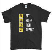Eat Sleep Fish Repeat Funny Inspired Fishing  Boys Men T Shirt Top Tee